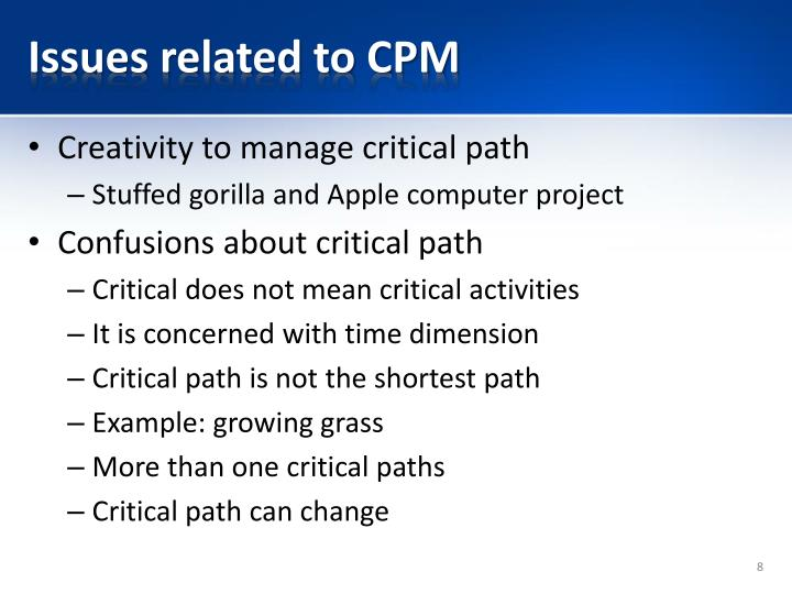 Issues related to CPM