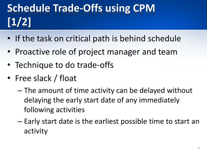 Schedule Trade-Offs using CPM [1/2]