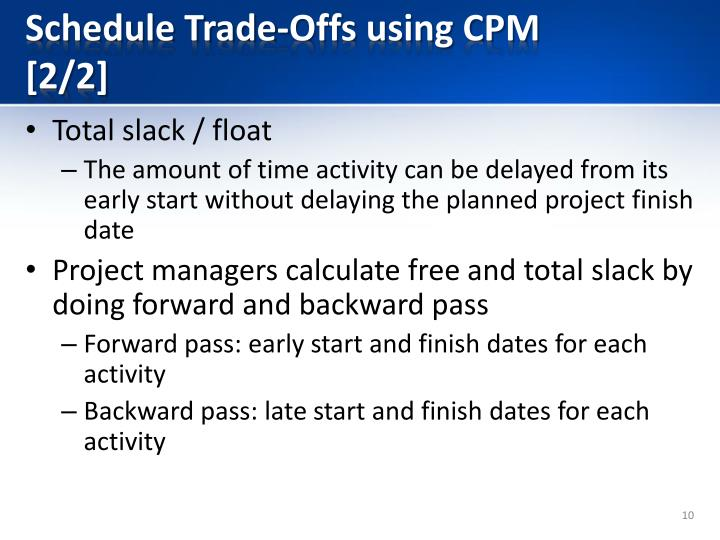 Schedule Trade-Offs using CPM [2/2]