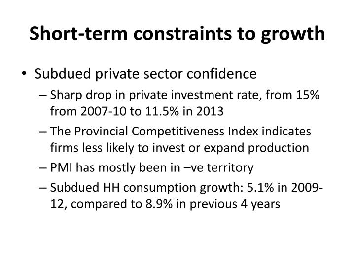 Short-term constraints to growth