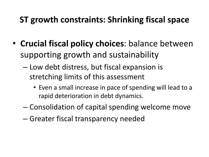 ST growth constraints: Shrinking fiscal space