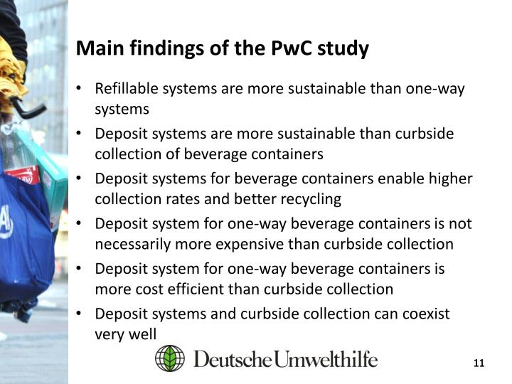 Main findings of the PwC study