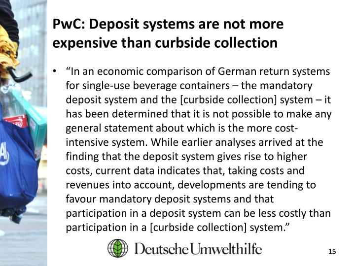 PwC: Deposit systems are not more expensive than curbside collection