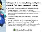 taking stock of the past taking reality into account pwc study on deposit systems