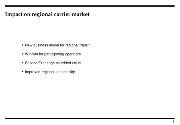 Impact on regional carrier market