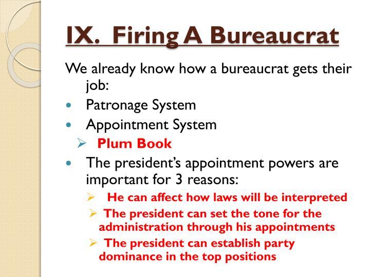 IX.  Firing A Bureaucrat