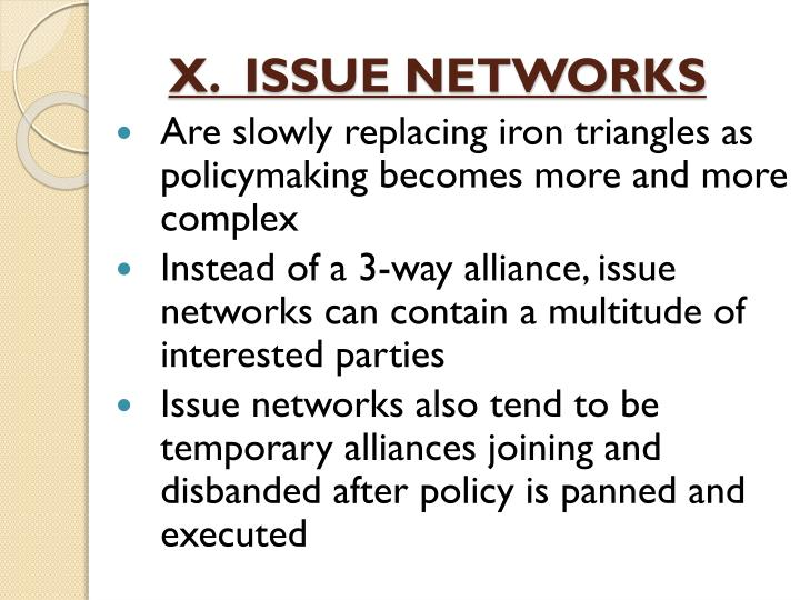 X.  ISSUE NETWORKS