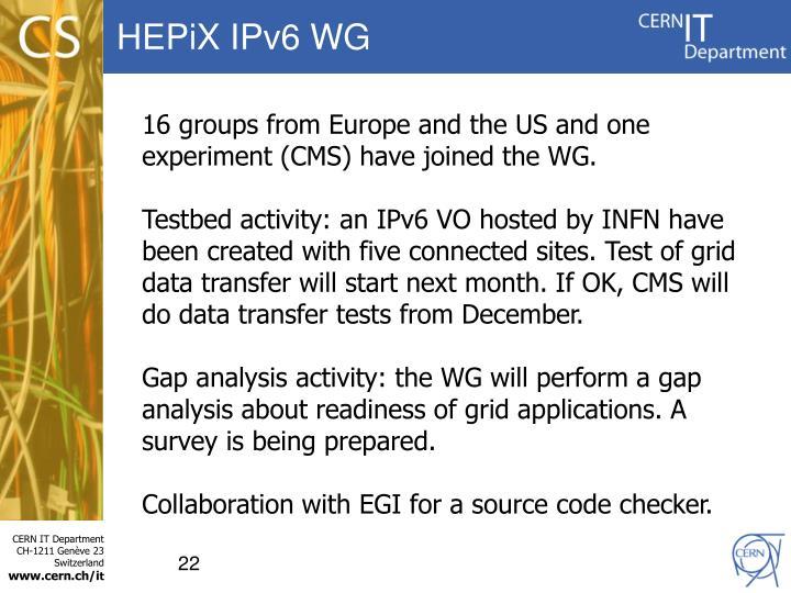 HEPiX IPv6 WG
