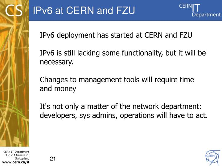 IPv6 at CERN and FZU