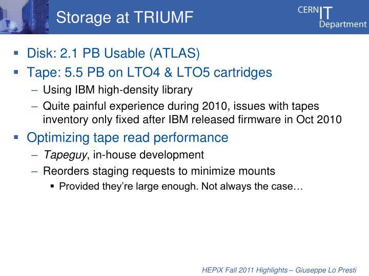 Storage at TRIUMF