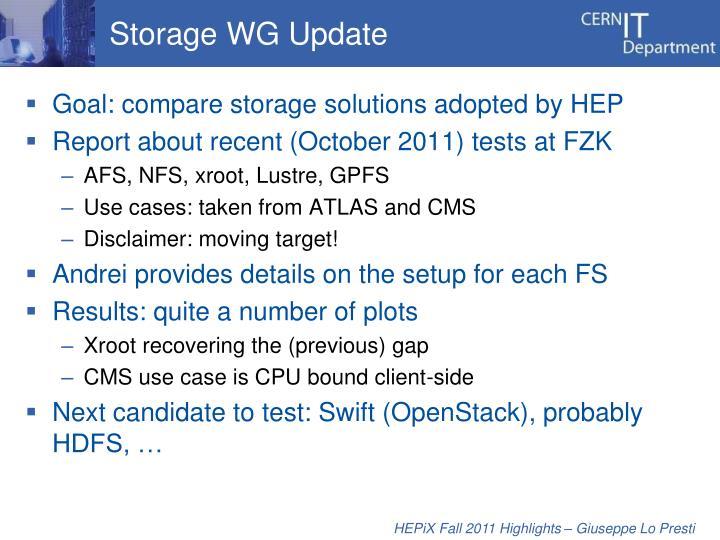 Storage WG Update