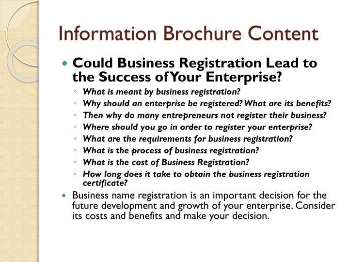 Information Brochure Content