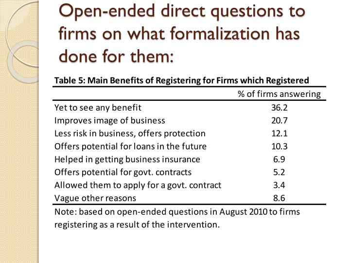 Open-ended direct questions to firms on what formalization has done for them: