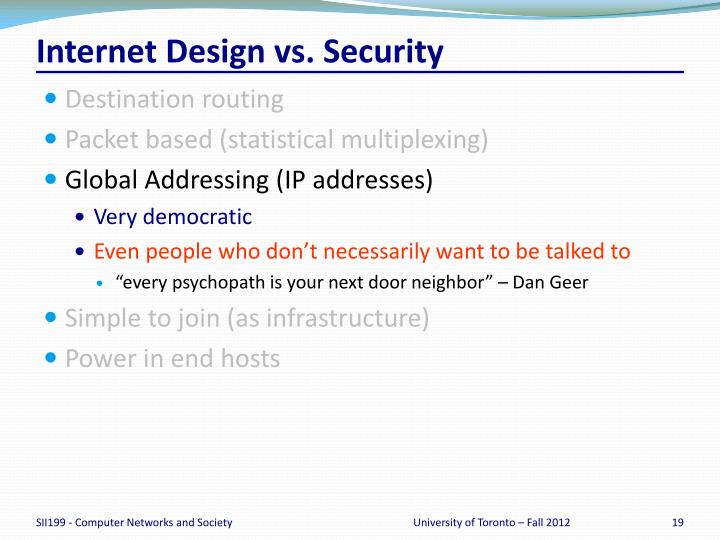 Internet Design vs. Security