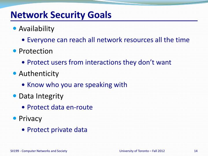 Network Security Goals