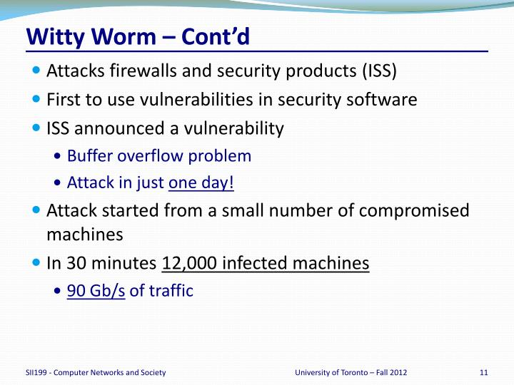 Witty Worm – Cont'd