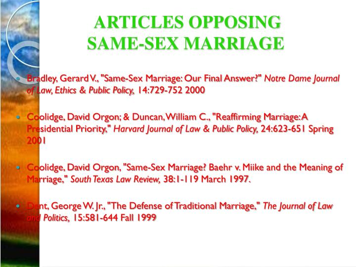 Articles opposing same sex marriage