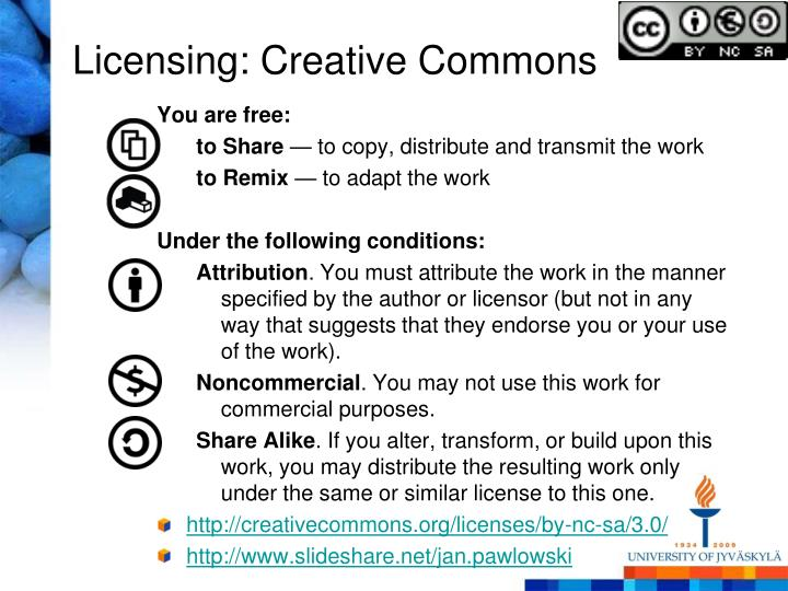 Licensing: Creative Commons