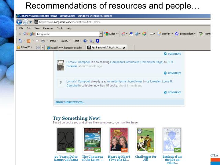 Recommendations of resources and people…