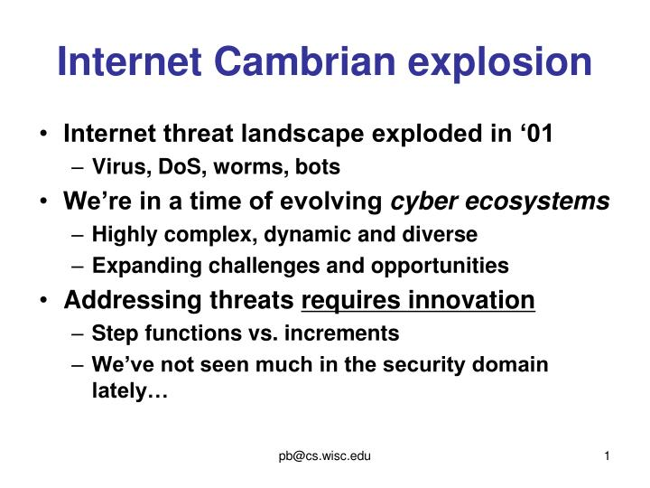 Internet Cambrian explosion