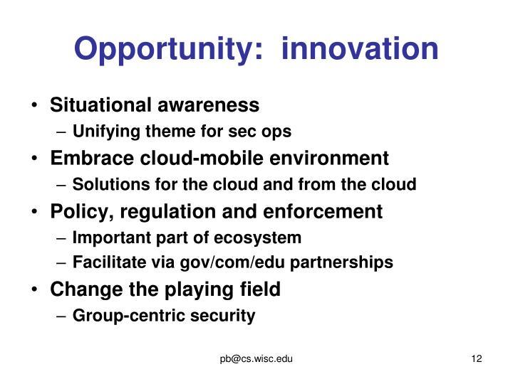 Opportunity:  innovation