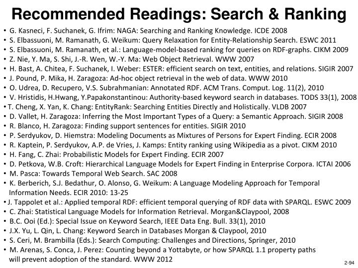 Recommended Readings: Search & Ranking