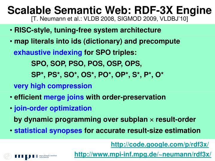 Scalable Semantic Web: RDF-3X Engine