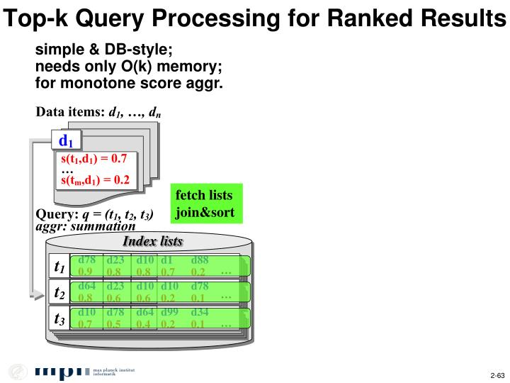 Top-k Query Processing for Ranked Results