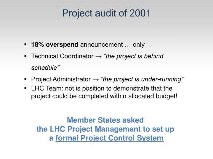 Project audit of 2001
