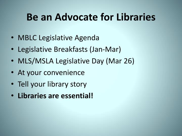 Be an Advocate for Libraries