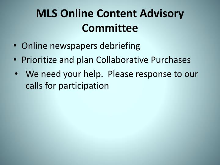 MLS Online Content Advisory Committee
