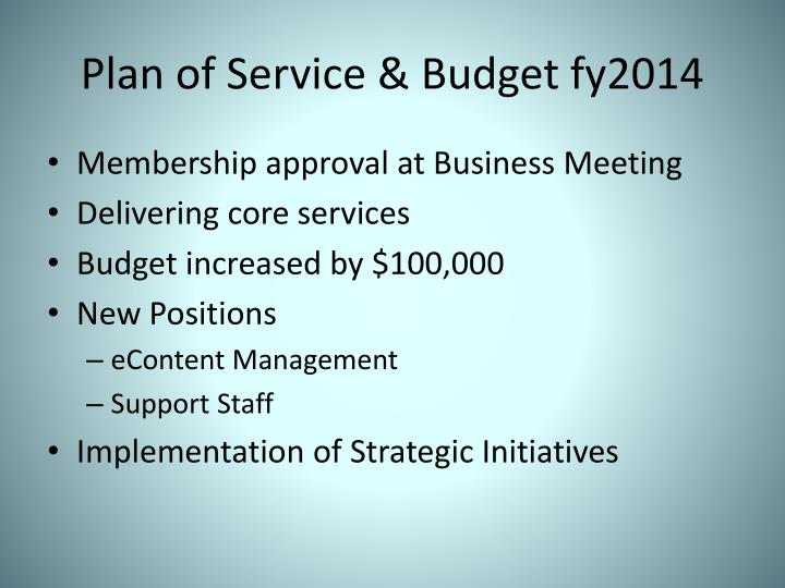 Plan of Service & Budget fy2014
