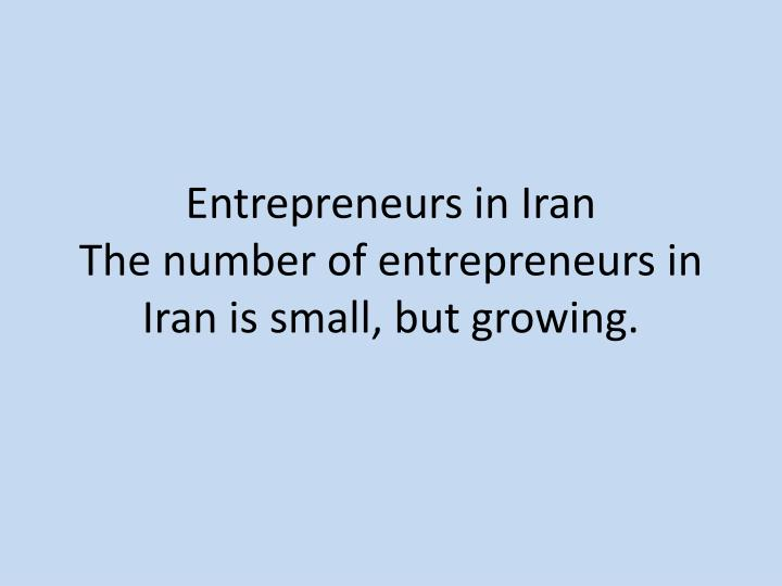 Entrepreneurs in Iran