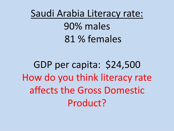 Saudi Arabia Literacy rate: