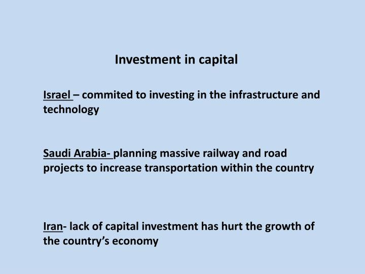 Investment in capital