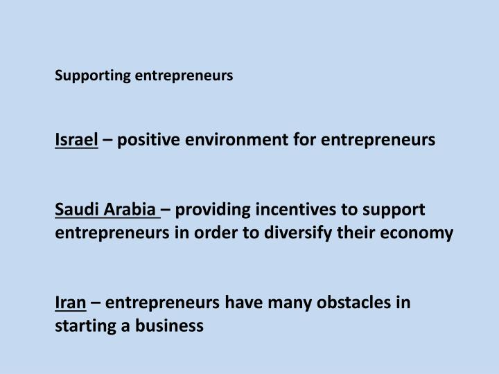 Supporting entrepreneurs