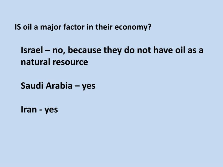 IS oil a major factor in their economy?