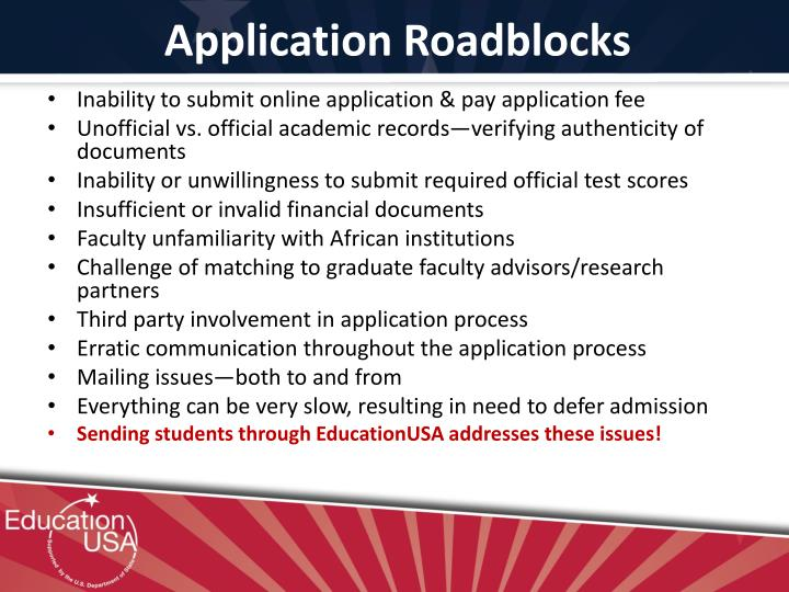 Application Roadblocks
