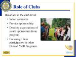 role of clubs