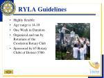ryla guidelines