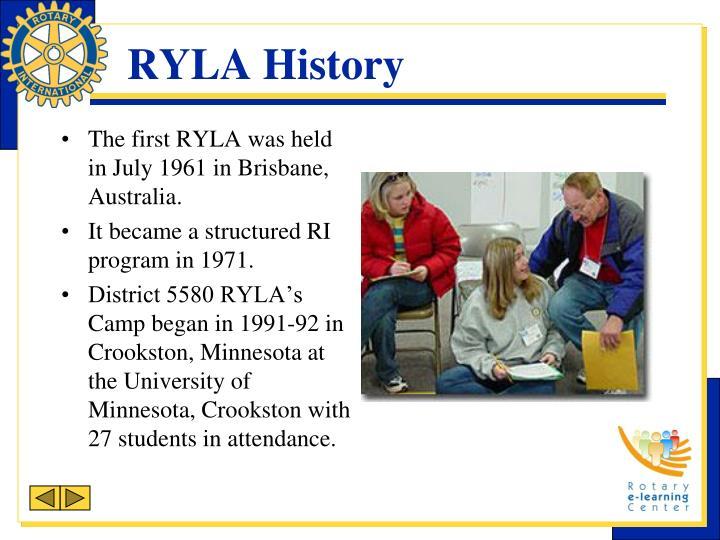 RYLA History