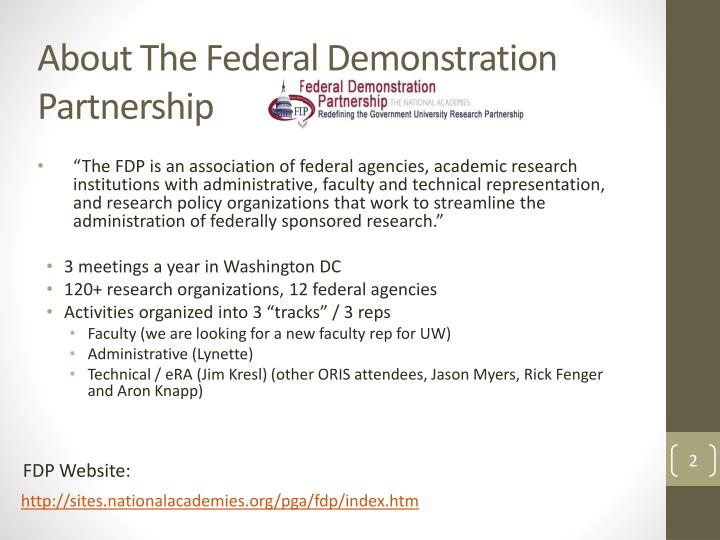 About the federal demonstration partnership
