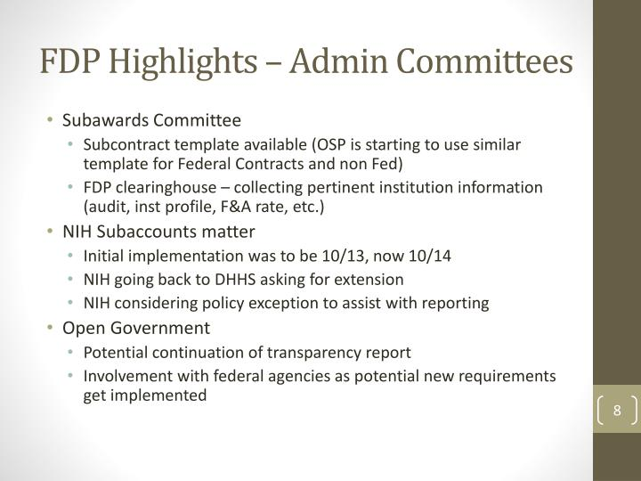 FDP Highlights – Admin Committees