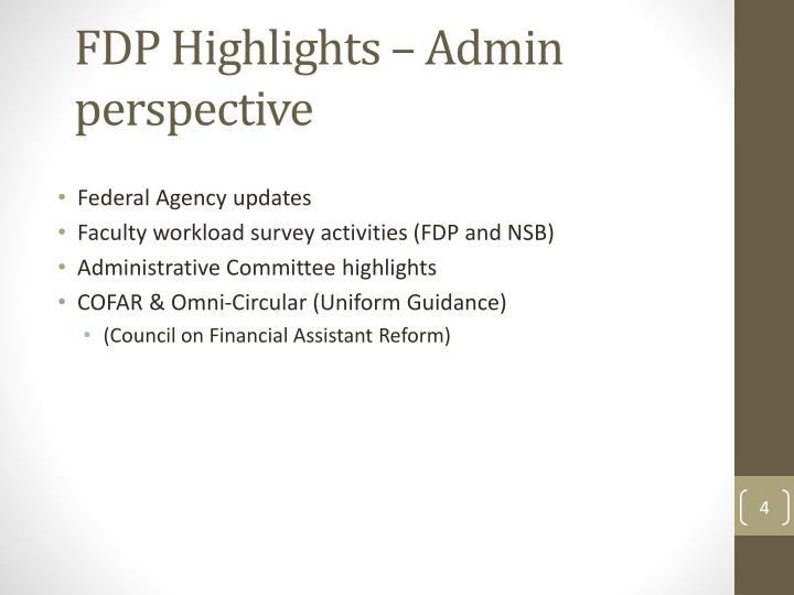 FDP Highlights – Admin perspective