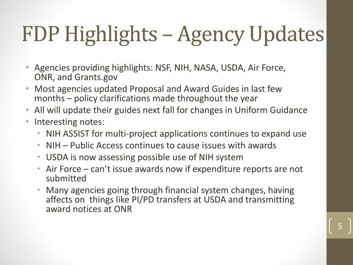 FDP Highlights – Agency Updates
