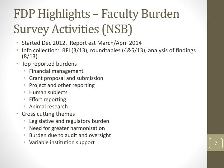 FDP Highlights – Faculty Burden Survey Activities (NSB)