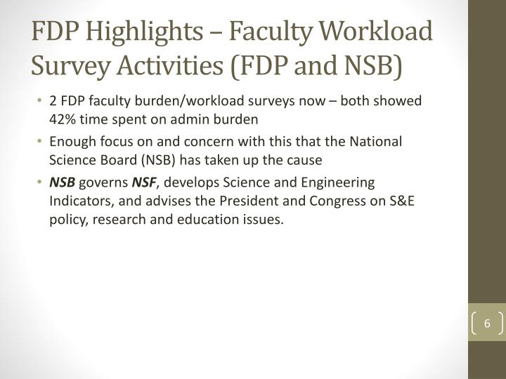 FDP Highlights – Faculty Workload Survey Activities (FDP and NSB)