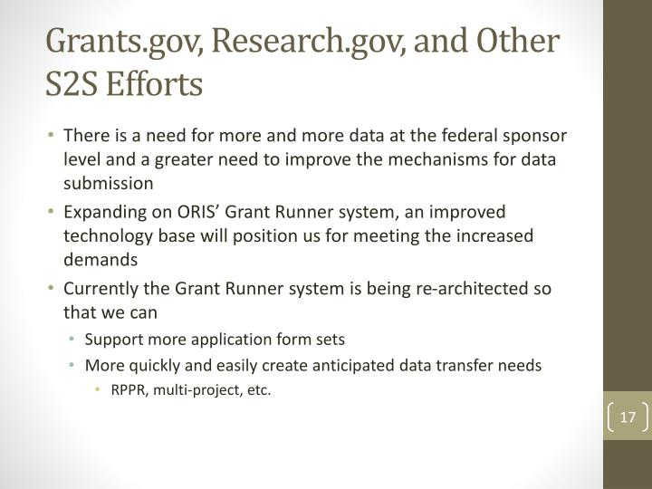 Grants.gov, Research.gov, and Other S2S Efforts