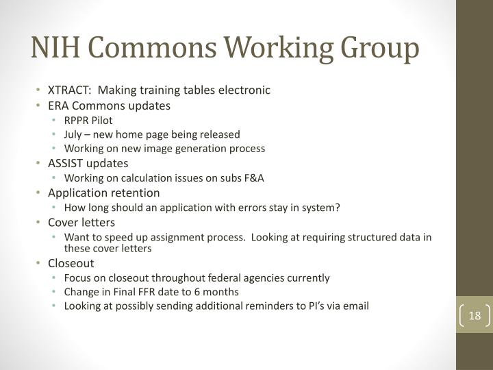 NIH Commons Working Group