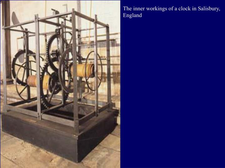 The inner workings of a clock in Salisbury, England